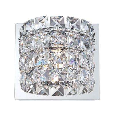 Rondell 1-Light Chrome Vanity Light with Clear Crystal Glass