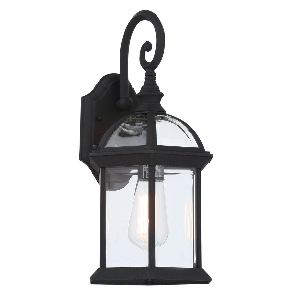 Bel Air Lighting Wall Mount 1 Light Outdoor Black Coach Lantern Sconce With Clear Gl