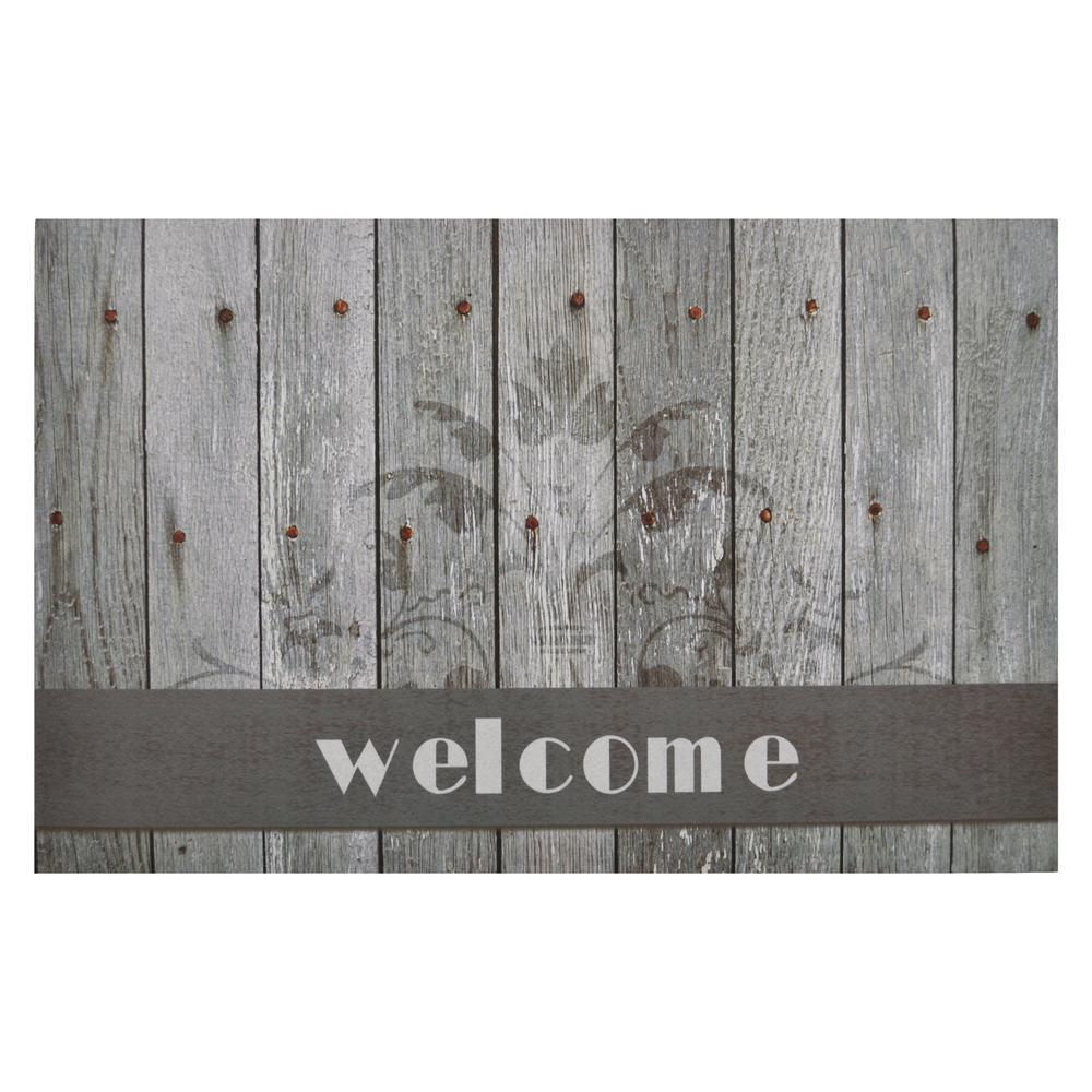 Boardwalk Welcome 18 in. x 30 in. Rubber Entrance Mat