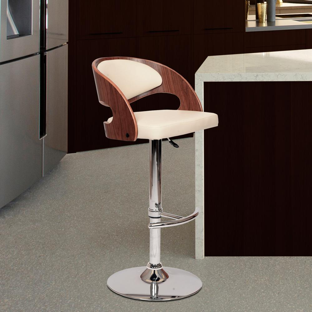 High Quality Armen Living Malibu 46 In. Cream Faux Leather And Chrome Finish Swivel  Barstool