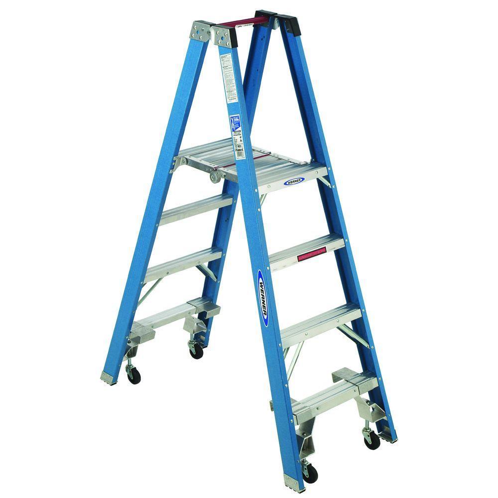 4 ft. Fiberglass Platform Step Ladder with Casters 250 lb. Load Capacity Type I Duty Rating