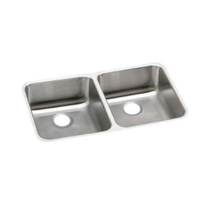 Lustertone Perfect Drain Undermount Stainless Steel 31 in. Double Bowl Kitchen Sink