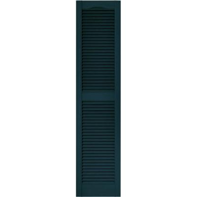 15 in. x 64 in. Louvered Vinyl Exterior Shutters Pair in #166 Midnight Blue