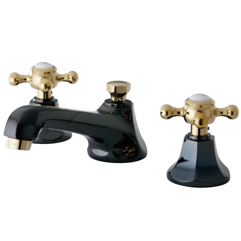 Kate 8 in. Widespread 2-Handle Cross-Handles Bathroom Faucet in Black and