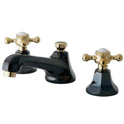 Kate 8 in. Widespread 2-Handle Cross-Handles Bathroom Faucet in Black and Polished Brass