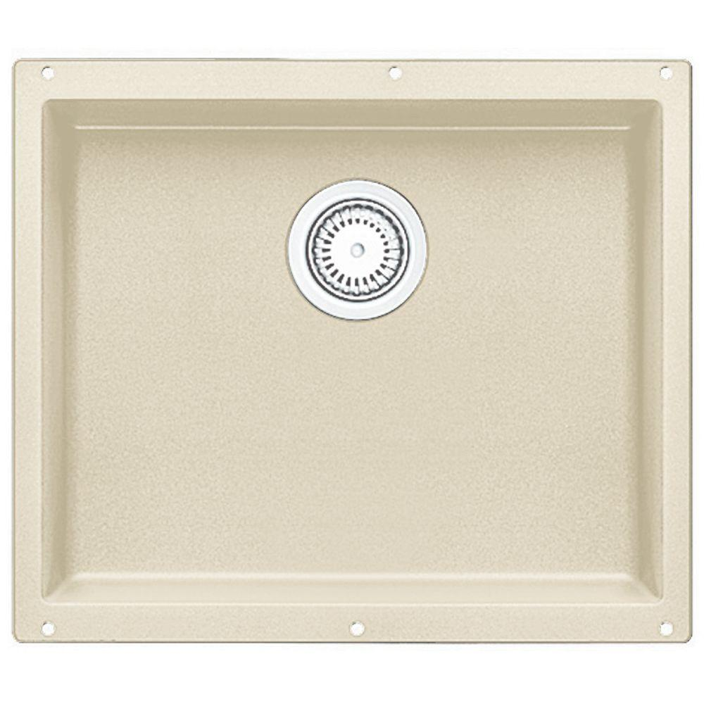 Precis Undermount Composite 21 in. Single Bowl Kitchen Sink in Biscuit