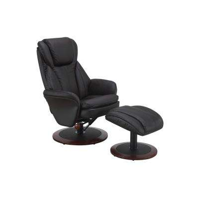 Comfort Chair Java Leather Swivel Recliner with Ottoman