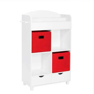 Kids White Cubby Storage Cabinet with Bookrack with 2-Piece Red Bins
