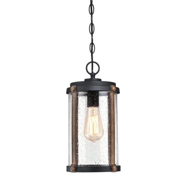 Armin Textured Black 1-Light with Barnwood Accents Outdoor Hanging Pendant
