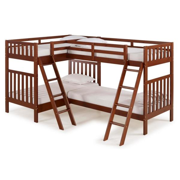 Alaterre Furniture Aurora Chestnut Twin Over Twin Bunk Bed with Quad-Bunk