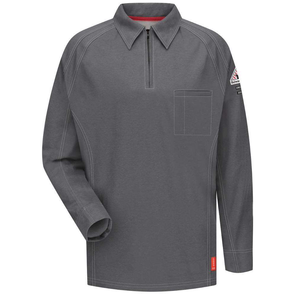 f5ec82697f75 Bulwark IQ Men's Small Charcoal Long Sleeve Polo-QT12CH RG S - The ...