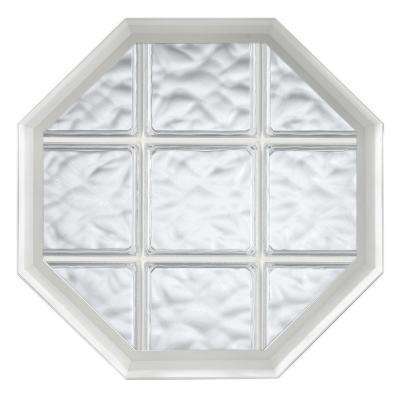 26 in. x 26 in. Acryilc Block Fixed Octagon Geometric Vinyl Window in White