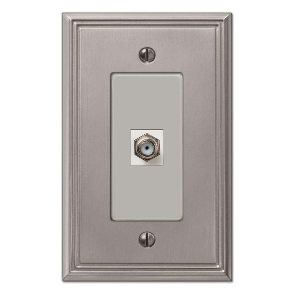 Creative Accents Metro Line 1 Video Wall Plate - Brushed Nickel
