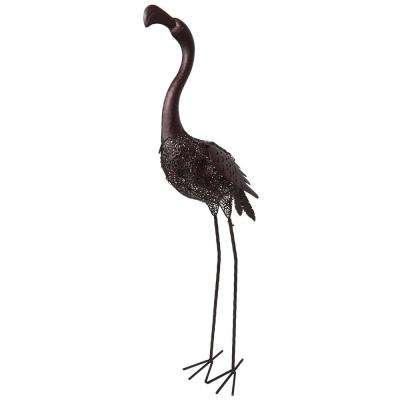 40 in. Steel Indoor/Outdoor Animal Garden Flamingo Metal Sculpture Statue with Solar Light