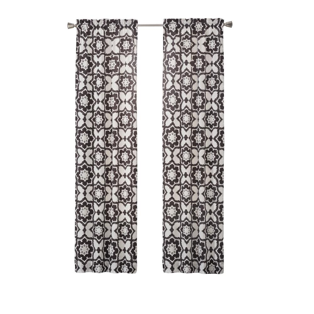 Pairs to Go Udall 84 in. L Polyester Rod Pocket Drapery Panel Pair in Black