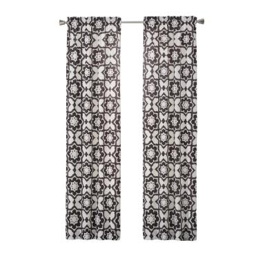 Udall 84 in. L Polyester Rod Pocket Drapery Panel Pair in Black