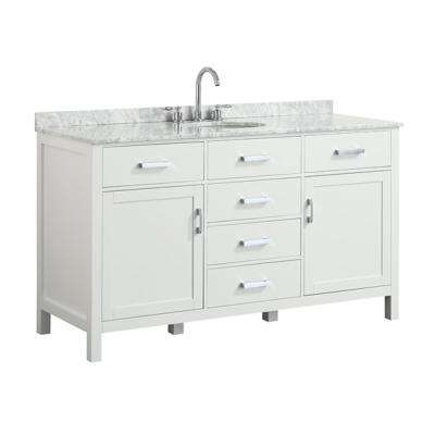 Hampton 61 in. W x 22 in. D Bath Vanity in White with Marble Vanity Top in White with White Basin