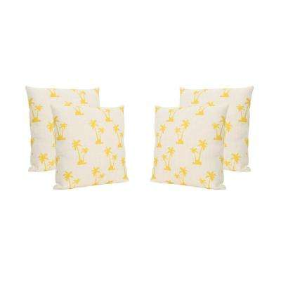 Palm Trees Beige and Yellow Square Outdoor Throw Pillows (Set of 4)