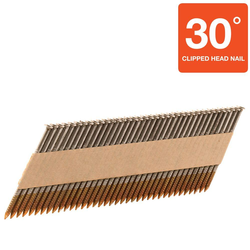 Hitachi 2-3/8 in. x 0.120 in. Ring Shank Clipped-Head Paper Tape Framing Brite Basic Nails (4,800-Pack)