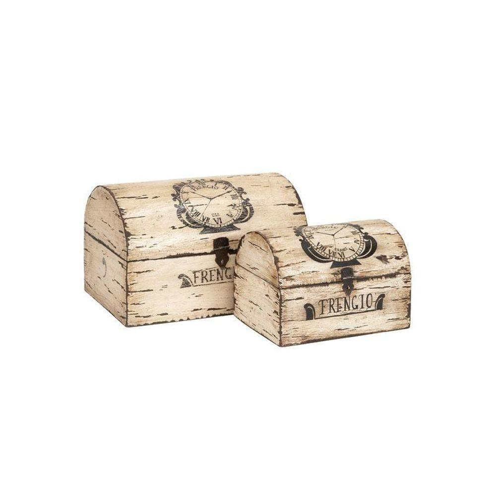 Home Decorators Collection 14 in. W Antique Ivory French Wood Box Set (Set of 2)