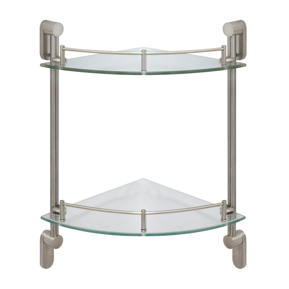 Double Glass Shelf Wall Mount Bathroom Shelves Brushed Nickel Stainless Steel 304 Double Glass