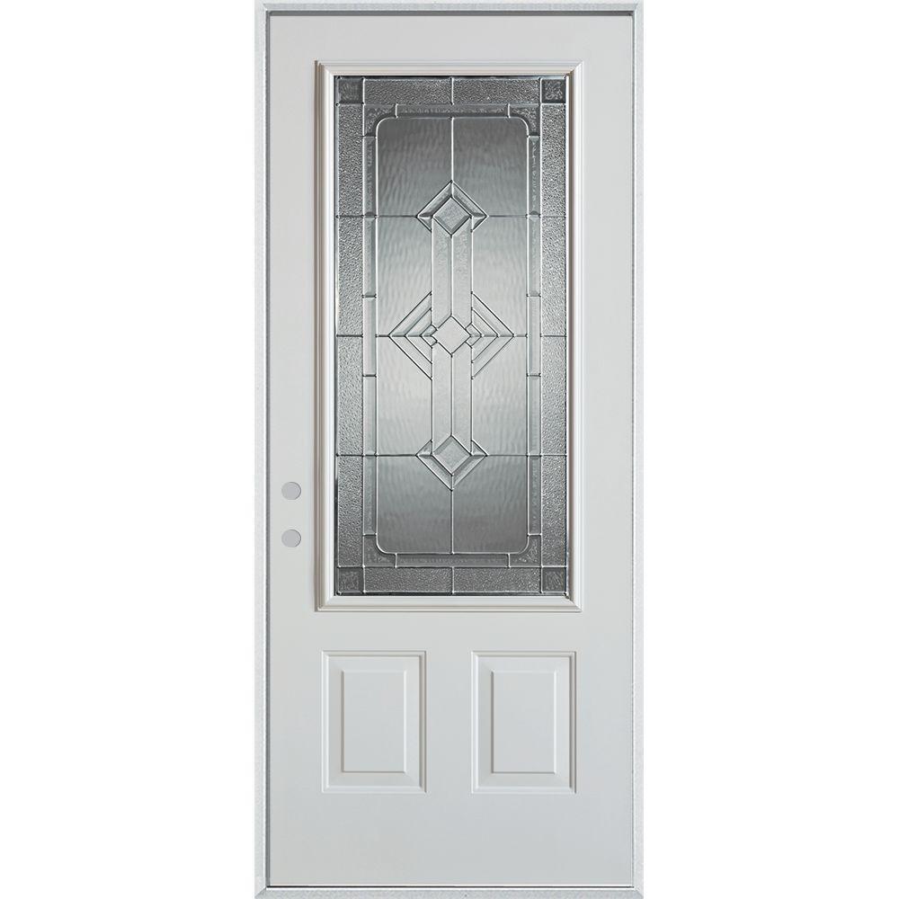 Stanley Doors 36 in. x 80 in. Neo-Deco Zinc 3/4 Lite 2-Panel Painted White Steel Prehung Front Door