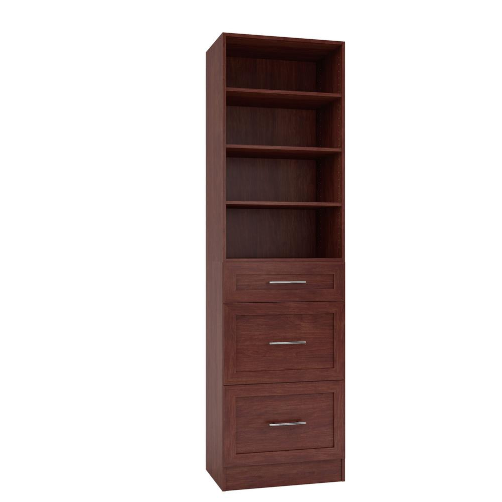 Home Decorators Collection 15 in. D x 24 in. W x 84 in. H Bergamo Cherry Melamine with 4-Shelves and 3-Drawers Closet System Kit