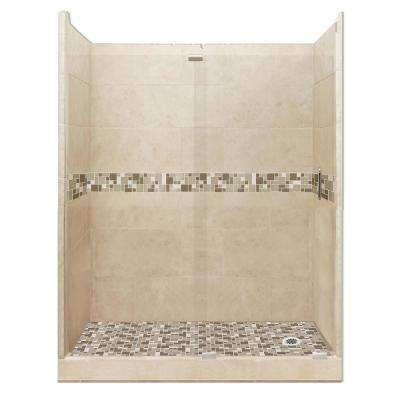 Tuscany Grand Slider 36 in. x 60 in. x 80 in. Right Drain Alcove Shower Kit in Brown Sugar and Satin Nickel Hardware