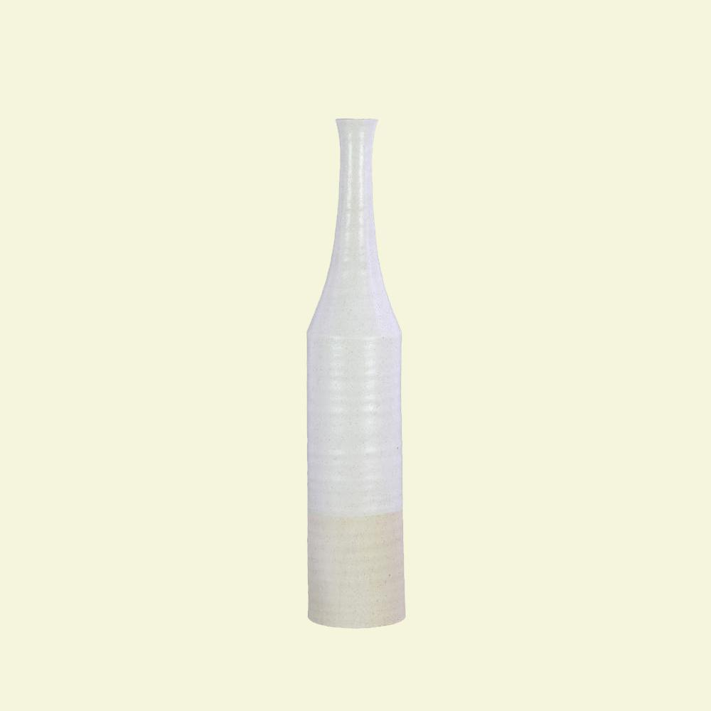 Silver, White Coated Finish Ceramic Decorative Vase