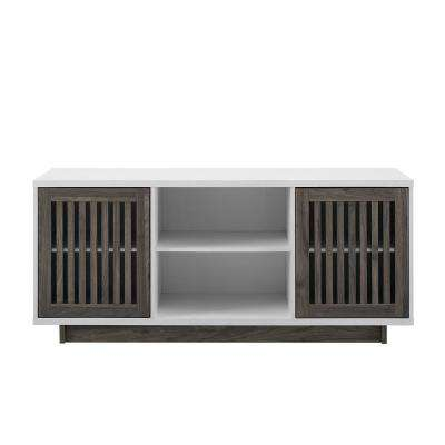 56 in. Slate Grey Mid Century Modern Vertical Slat Door TV Stand Storage Console