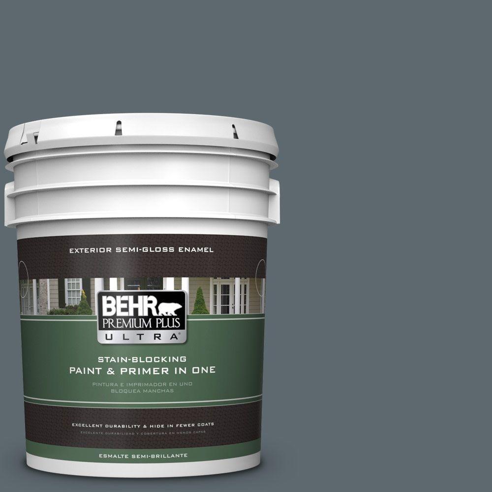 BEHR Premium Plus Ultra 5-gal. #ECC-22-3 Rain Shadow Semi-Gloss Enamel Exterior Paint