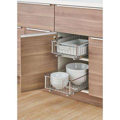 EcoStorage 11.5 in. W x 17.75 in. D x 6.25 in. H Chrome Wire in Cabinet Pull-Out Bottom Mount Wire Drawer