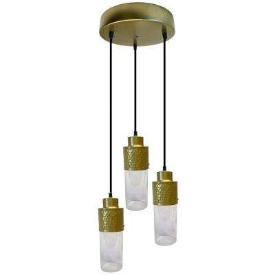 3-Light Gold Pendant with Glass Shades