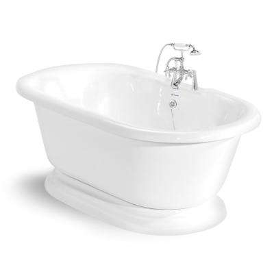 70 in. AcraStone Acrylic Double Pedestal Flatbottom Non-Whirlpool Bathtub and Faucet in Chrome
