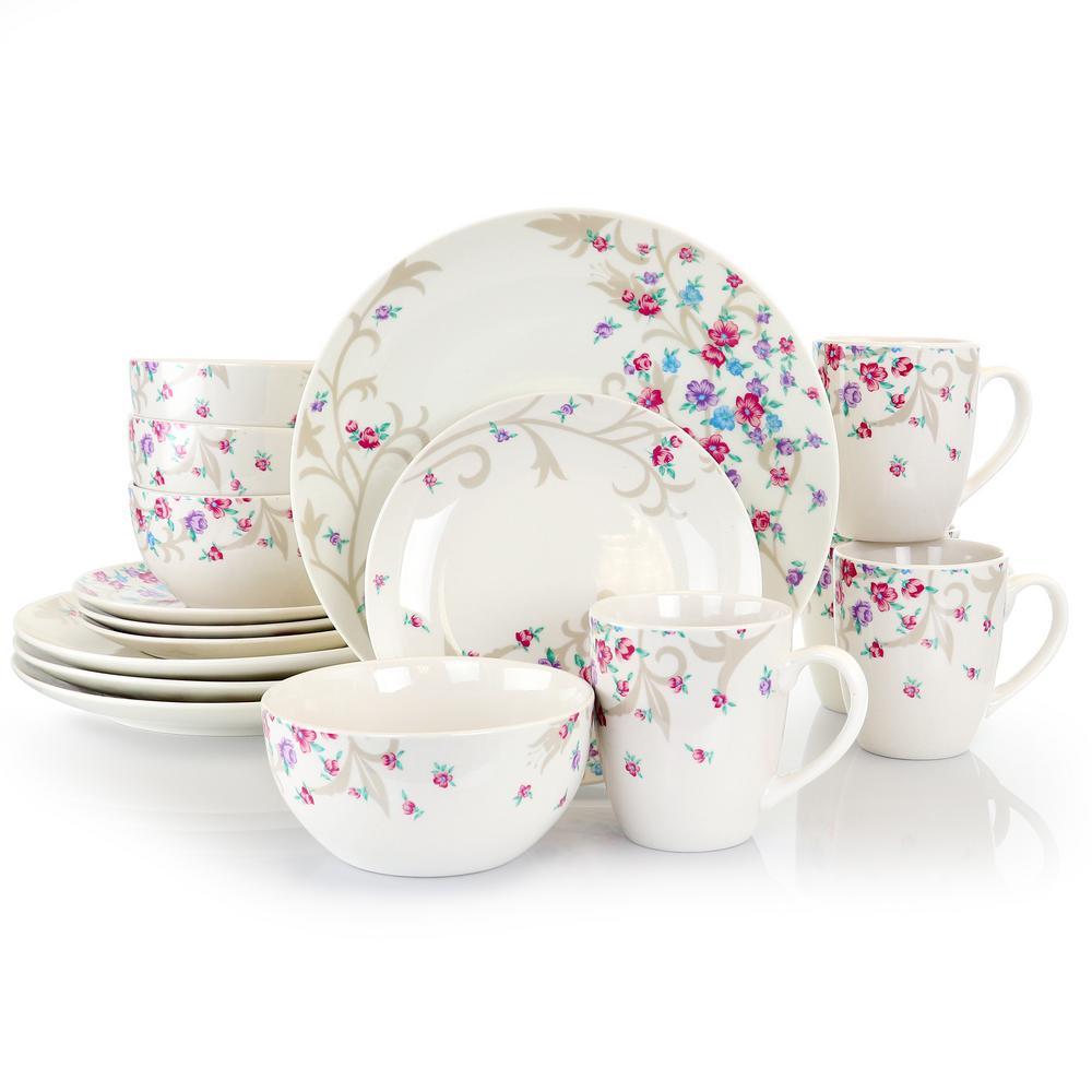 Floral Splash 16-Piece Casual White Ceramic Dinnerware Set (Service for 4)