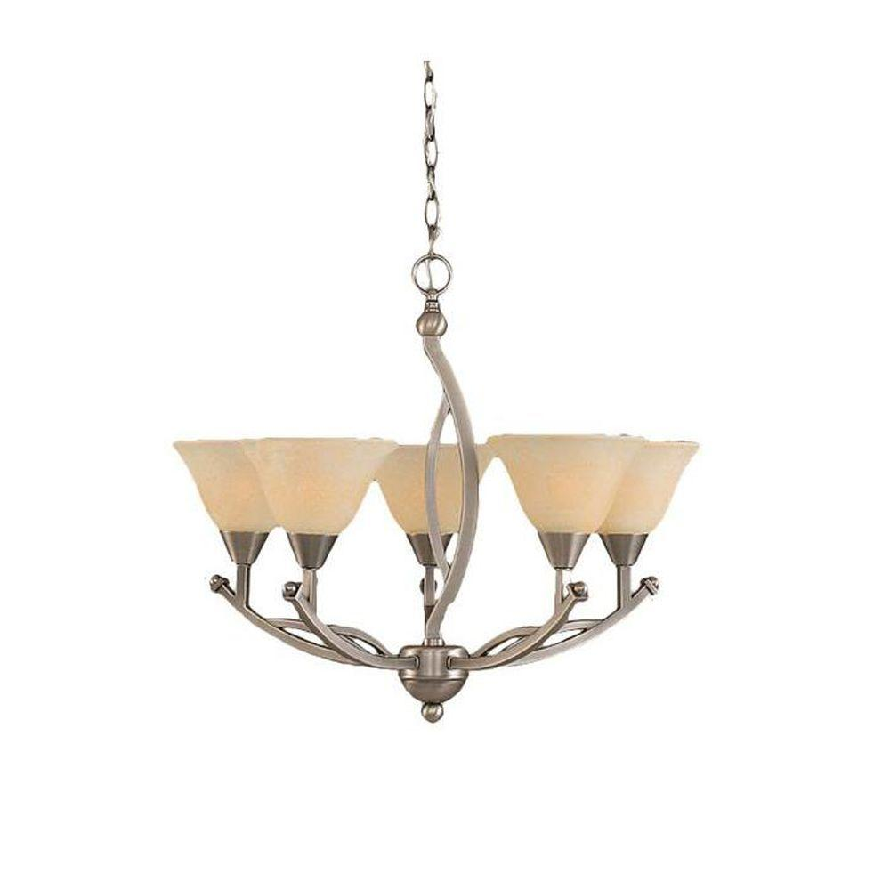 Concord 5-Light Brushed Nickel Chandelier with Amber Marble Glass Shade