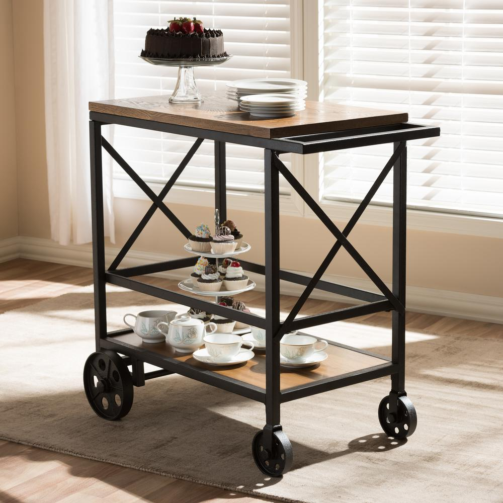 Go Home Black Industrial Kitchen Cart At Lowes Com: Baxton Studio Chester Oak Brown/Black Mobile Serving Cart