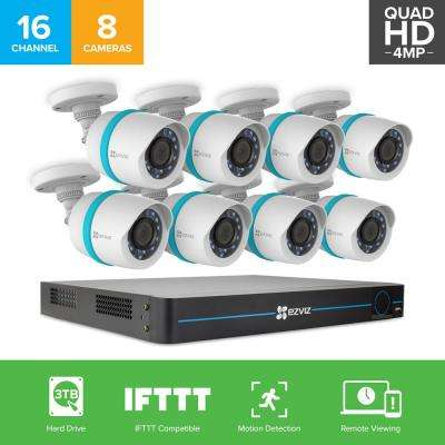 2K HD (4MP) Security Camera System, 8 4MP (2688x1520) IP PoE Cameras, 16 Channel NVR 3TB HDD, 100 ft. Night Vision