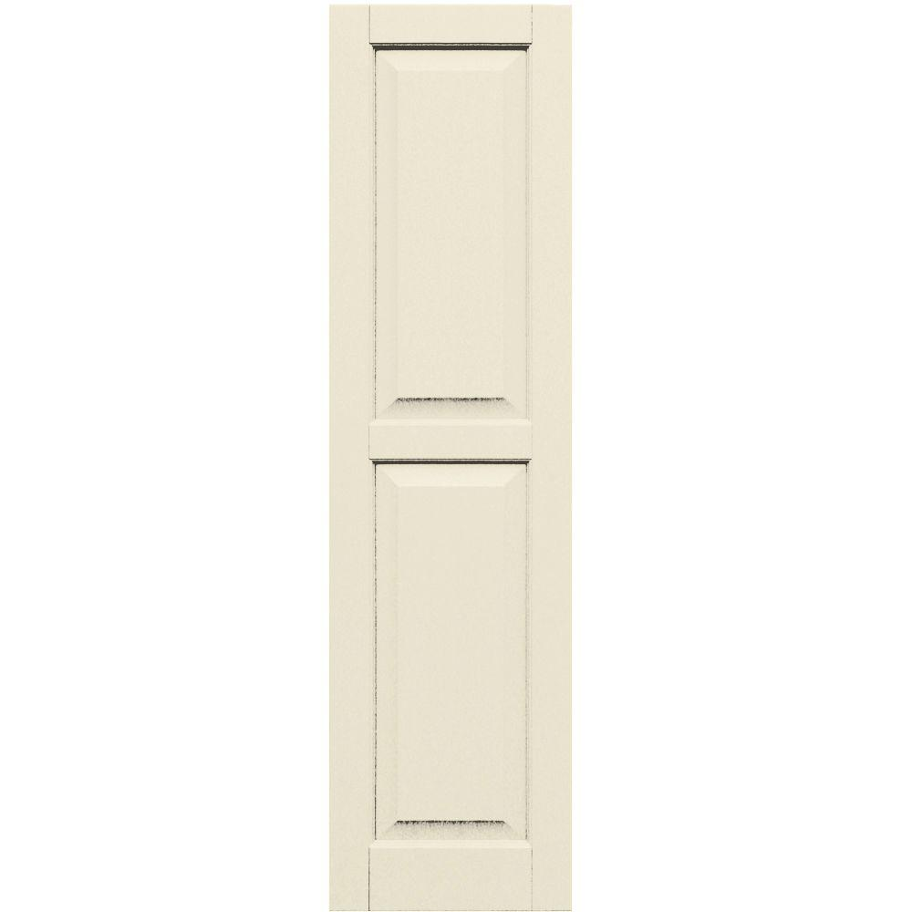Winworks Wood Composite 15 in. x 56 in. Raised Panel Shutters Pair #651 Primed/Paintable