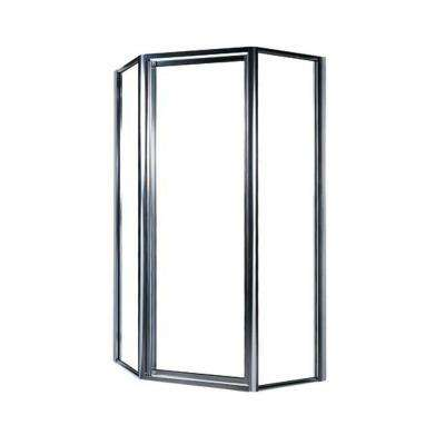 38 in. x 70 in. Framed Neo-Angle Pivot Shower Door in Chrome