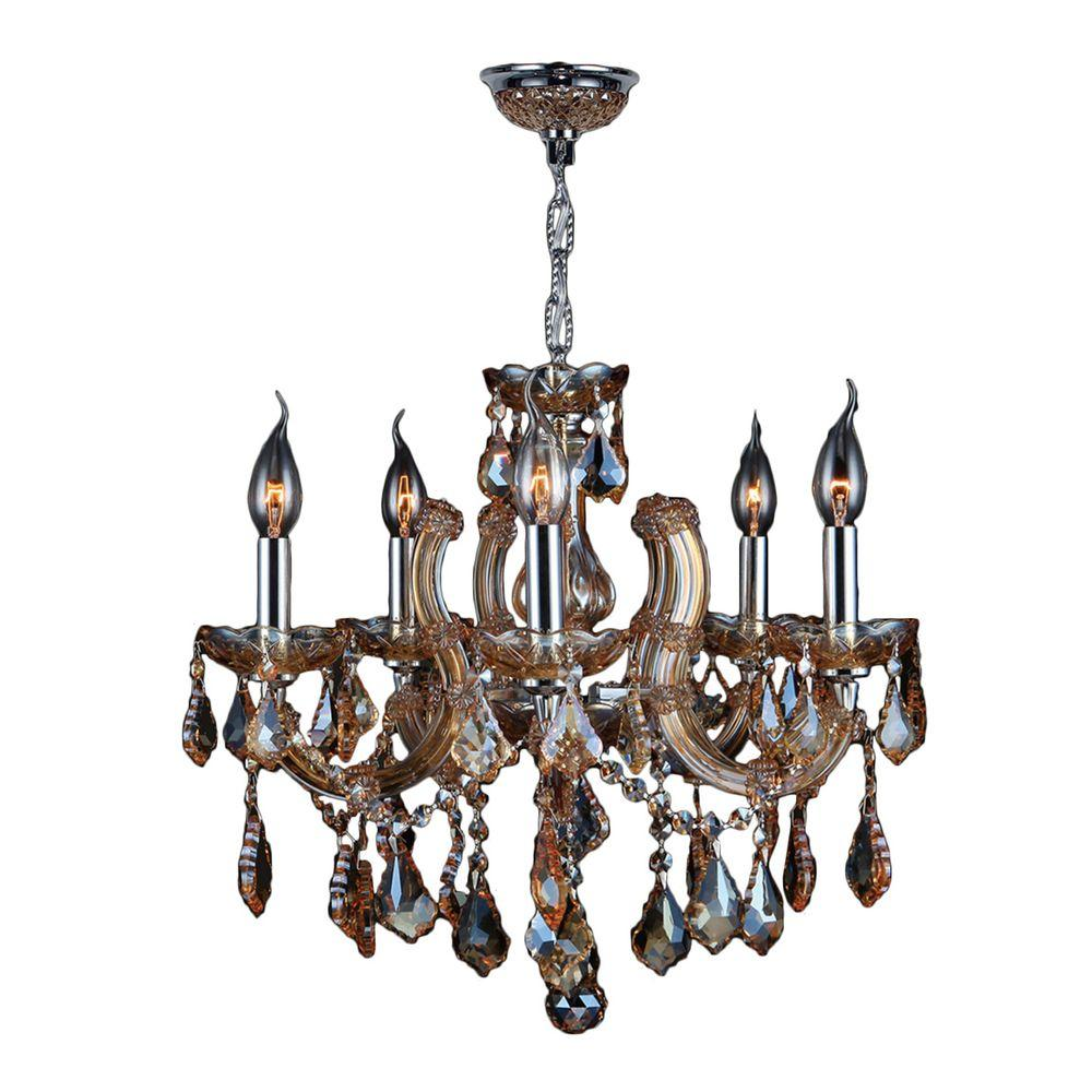 Worldwide lighting catherine collection 5 light chrome with amber worldwide lighting catherine collection 5 light chrome with amber crystal chandelier aloadofball Gallery