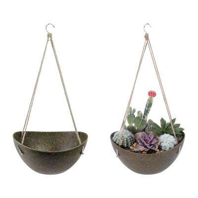 Eco 11 in. Mossy Bark Natural Plant Fibers and Recycled Resin Hanging Basket Planter