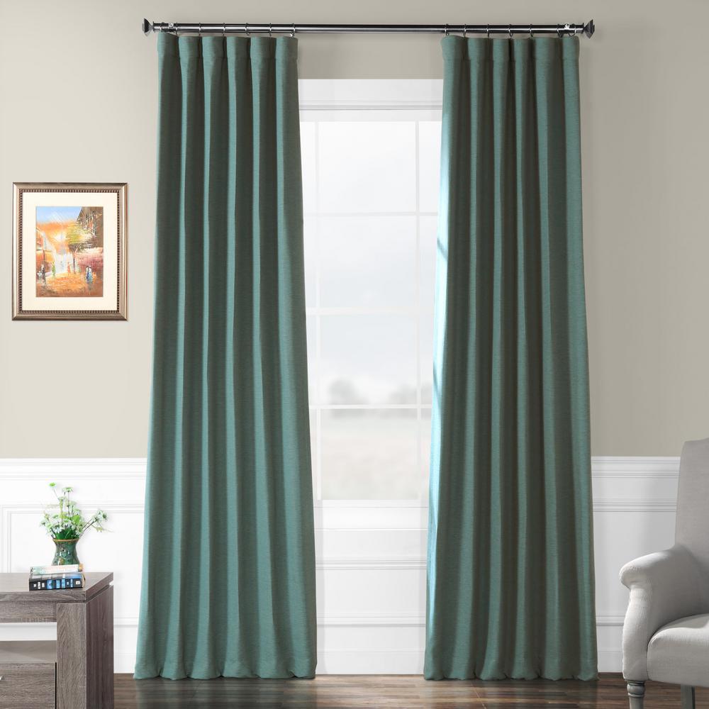 Semi-Opaque Jadite Green Bellino Blackout Curtain - 50 in. W x 96 in. L (Panel)