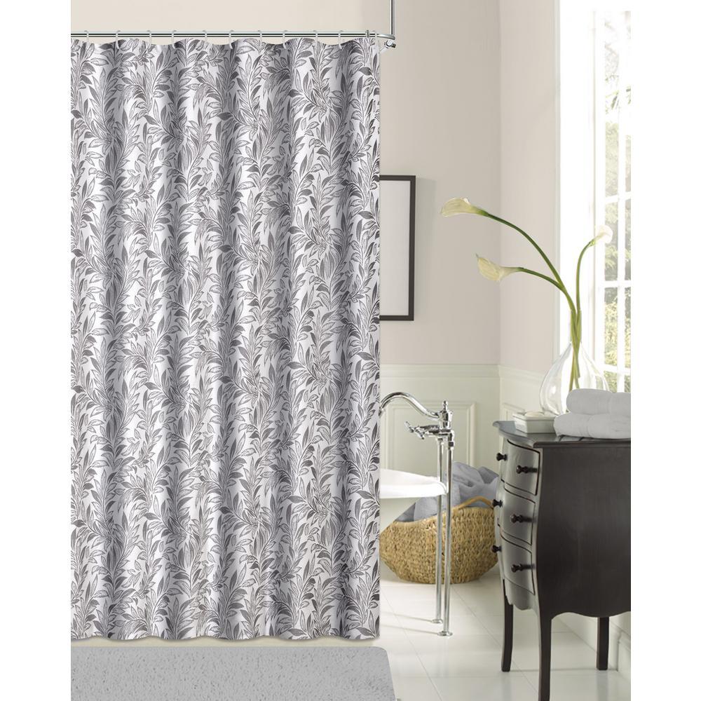 Lisbon 72 inch Silver Shrink Yarn Shower Curtain by