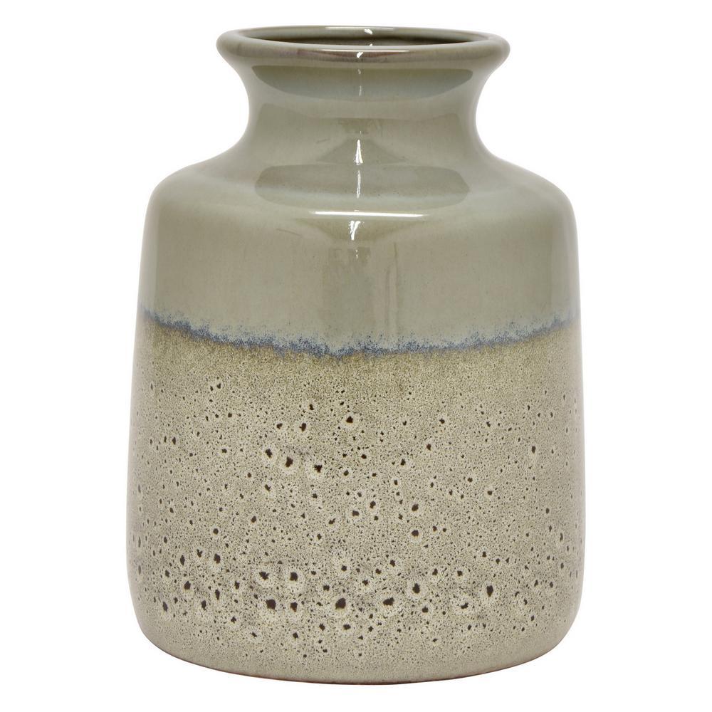 9.25 in. Gray Ceramic Vase