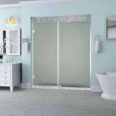 Belmore 69.25 in. to 70.25 in. x 72 in. Frameless Hinged Shower Door with Frosted Glass in Chrome