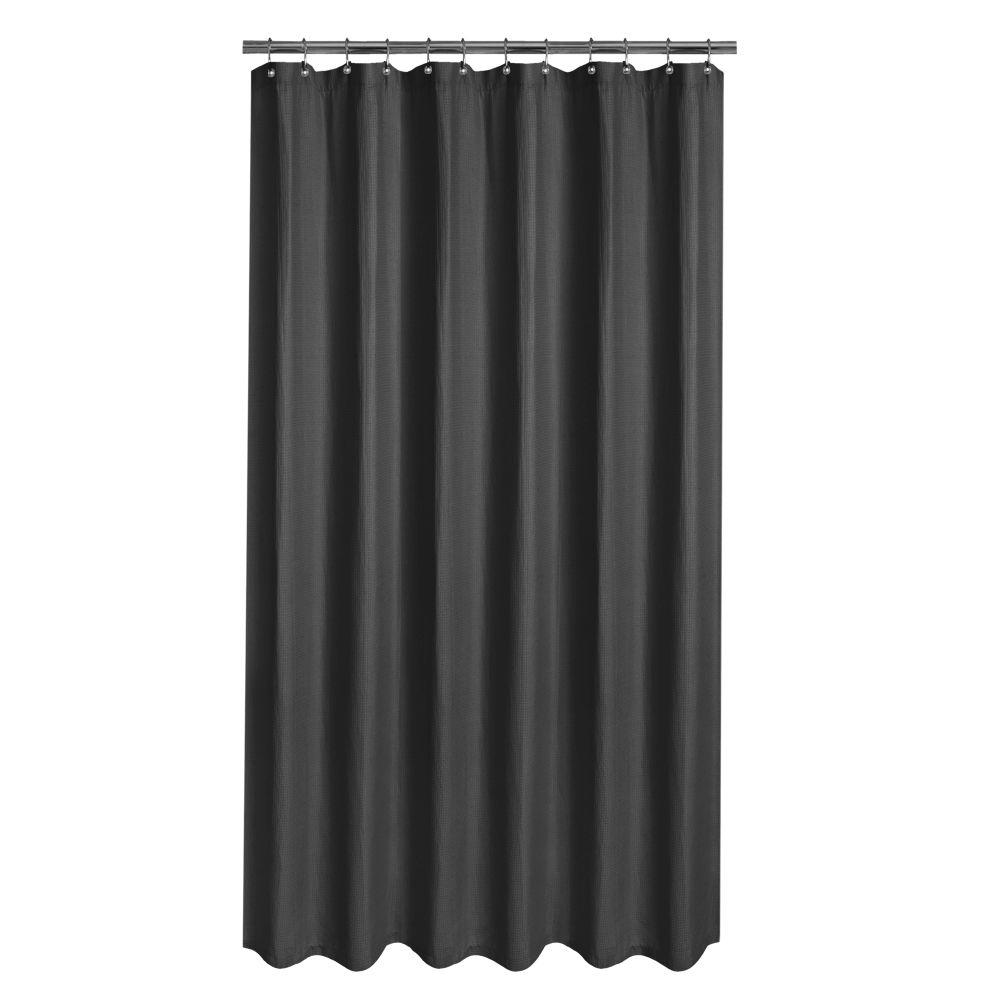 Merveilleux Glacier Bay Luxury Spa Waffle 72 In. Fabric Shower Curtain In Black