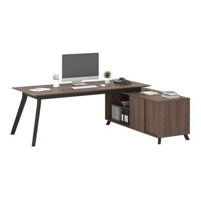 AX1 L-Shape Medium Brown Desk and Storage Cabinet Bundle