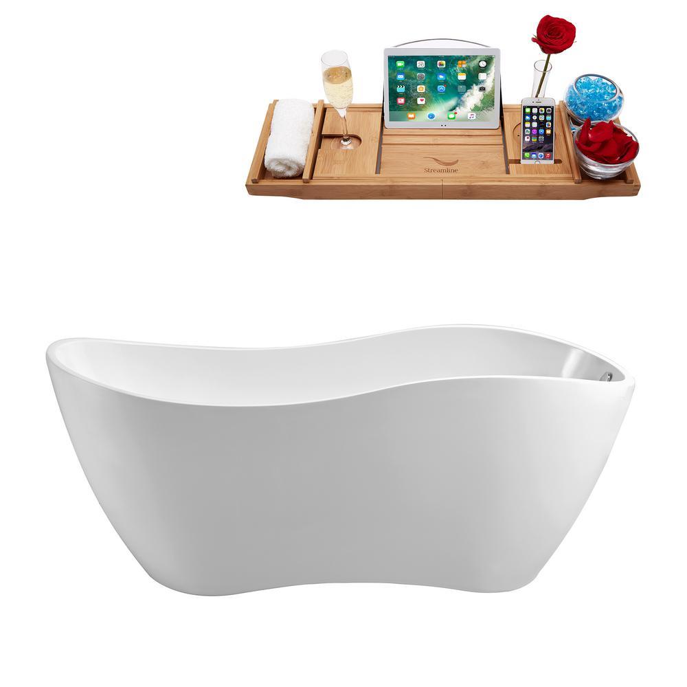 63 in. Acrylic Flatbottom Non-Whirlpool Bathtub in White
