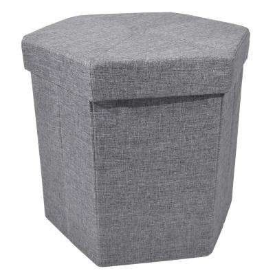15 in. x 15 in. x 15 in. Linen Grey Collapsible Hexagon Storage Ottoman